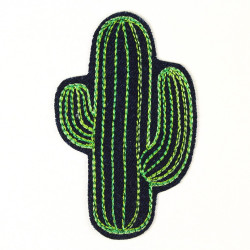 Accessories cactus iron-on patches blue jeans embroidered badge denim and applique