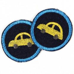 Flicken zum aufbügeln Jeans Autos gelb rund 5cm im 2er Pack
