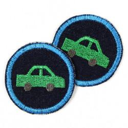 runde Jeans Aufbügler mit Auto in grün im Doppelpack - kleine runde Bügelflicken