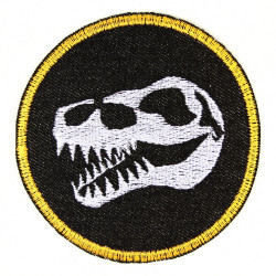 iron on patches black denim round with embroidered dinosaur skull