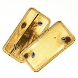 Bügelflicken Set Holz in hell mit Schrauben silber Flicken zum aufbügeln tolle Accessoires und schöne Geschenke Doppelpack