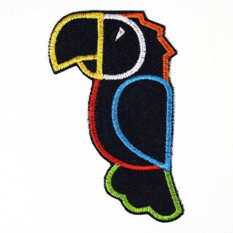 Patch to iron on parrot also an accessory for children and adults as an application and bird iron-on