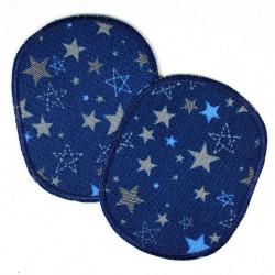 Flickli Set retro Sterne auf dunkelblau Flicken Set zum aufbügeln