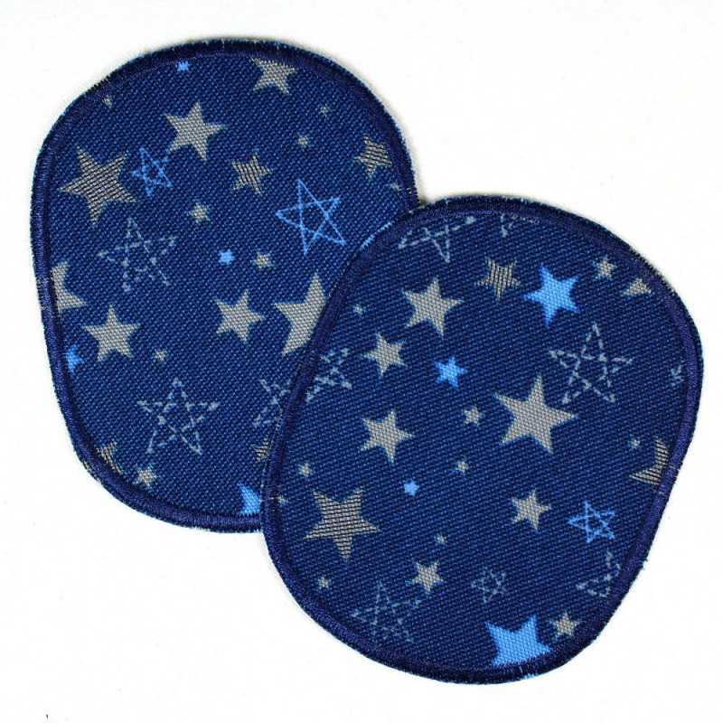 iron-on patches set retro stars and starlettes on dark blue strong appliques