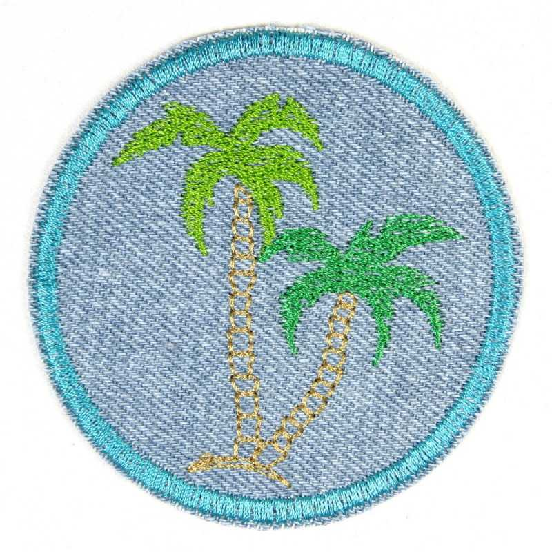 iron-on patches embroidered palms on denim jeans applique and beach accessory
