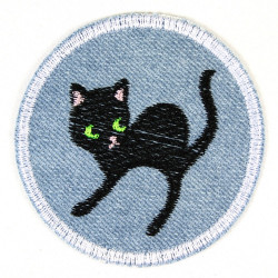 iron-on patches black cat embroidered badge as accessory and applique for adults