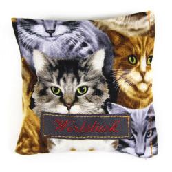 Lavendelkissen mit Katzen Motiv, Duftkissen, einzigartiges Geschenk, Lavendel beliebtes Aroma, bruhigend, genäht handgefertigt