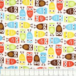 cotton fabric Ann Kelly urban zoologie minis owls Robert Kaufmann fabrics