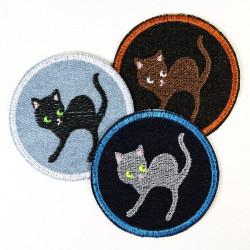 Patches Katzen Bügelbilder Accessoires Jeans Applikationen rund 7cm Aufnäher zum aufbügeln Sparpreis Angebot 3er Pack