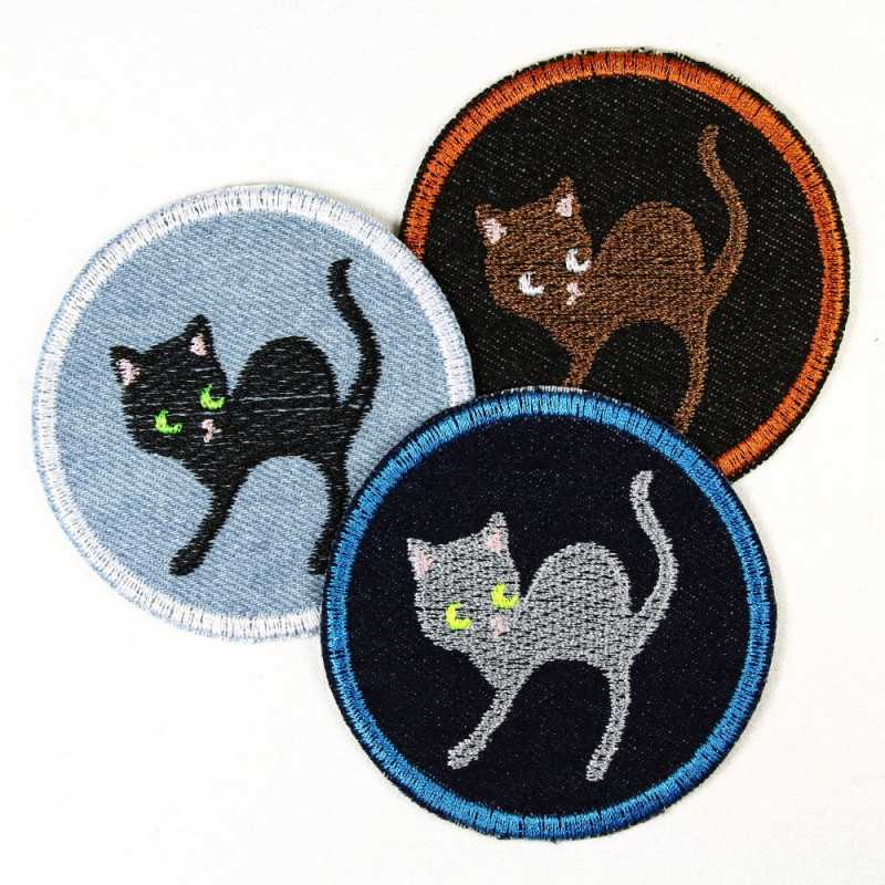 Flickli - the patch! round black cat ø 7cm
