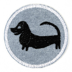 patch Jeans hellblau mit Hund Dackel schwarz 7 cm ø zum aufbügeln als Accessoires und Bügelflicken geeigneter Knieflicken