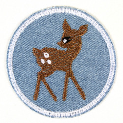 iron-on patches deer round embroidered applique on light blue denim ø 7cm animal accessory