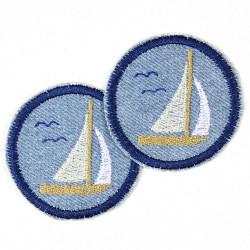 patches Jeans hellblau Segelboot 5 cm ø Set zum aufbügeln als Accessoires und Schiffe Bügelflicken geeigneter Knieflicken