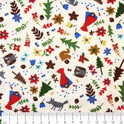 patchworkstoff timeless treasures fabrics Baumwollstoff Stoffe Rotkäppchen Märchen kleine Motive Wolf Eichhörnchen Wald
