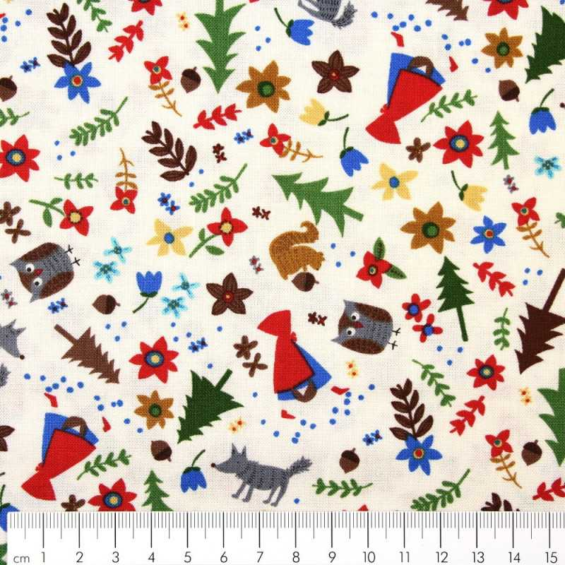 cotton fabric fabrics little red riding hood fairy tale small motifs wolf squirrel forest