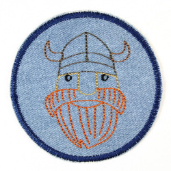 Iron-on patches Viking jeans patches trousers patches as knee patches suitable for ironing on embroidered 9,5cm ø