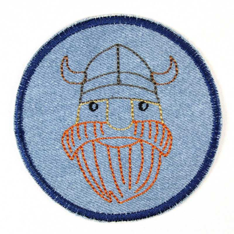 Flickli - the patch! denim round with embroidered viking
