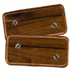 Bügelflicken Holz Flicken patches Hosenflicken als Knieflicken geeignet zum aufbügeln gestickt Doppelpack 2 Stück Inhalt 8x4 cm