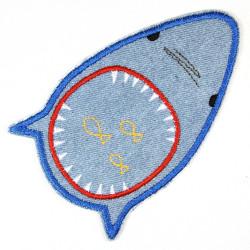 Bügelflicken Hai Flicken patches Hosenflicken als Knieflicken geeignet zum aufbügeln gestickt Accessoire, Aufnäher und Geschenk