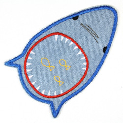 iron-on patches shark light blue strong denim applique usable as knee patches