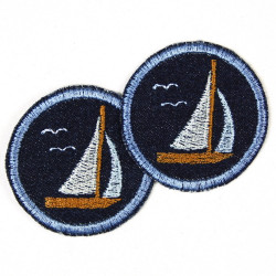 Bügelflicken Segelboot Flicken patches Hosenflicken als Knieflicken geeignet zum aufbügeln Accessoires, Aufnäher und Geschenk