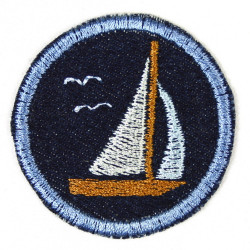 Flickli - the patch! round with sailing boat on lightblue double pack