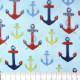 Stoff Anker bunt auf hellblau Robert Kaufman fabrics patchworkstoffe Baumwollstoff feste Baumwolle kleine Anker Motive