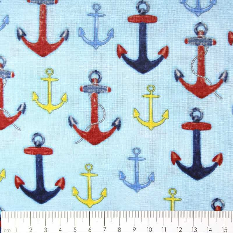 Fabric anchor multicolored on light blue Robert Kaufman fabrics patchwork fabrics cotton fabric solid cotton small anchor motifs
