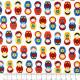 Stoff kleine Matroschka auf weiß Robert Kaufman fabrics patchworkstoffe Baumwollstoff feste Baumwolle kleine russische Motive
