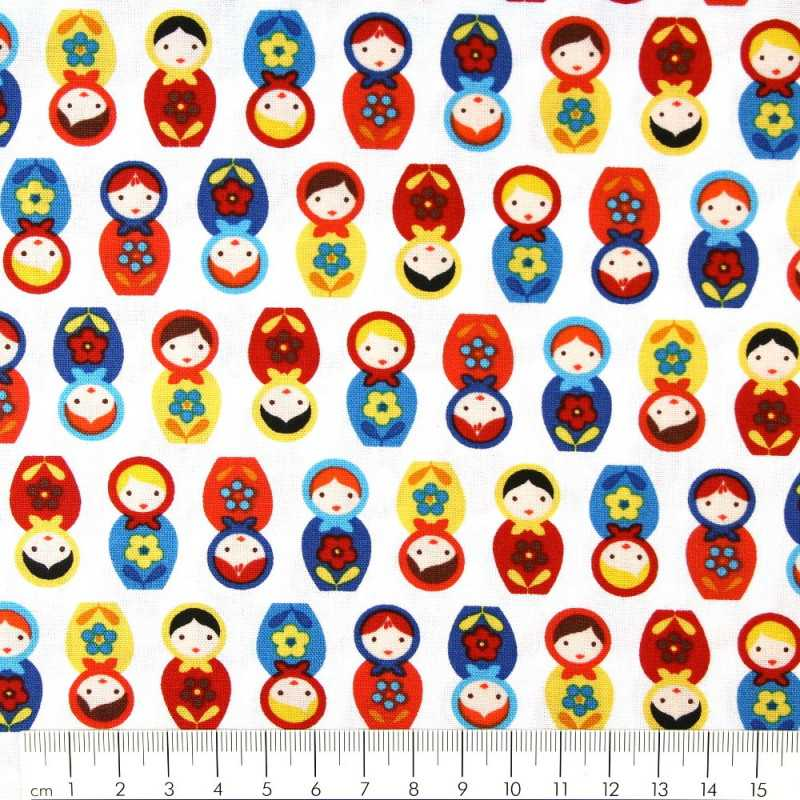 Fabric small matryoshka on white Robert Kaufman fabrics patchwork fabrics cotton fabric solid cotton small Russian motifs