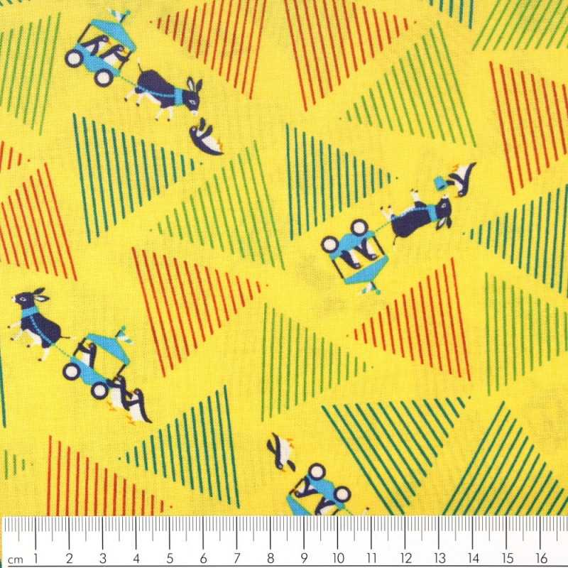 Fabric donkey team on yellow Yuwa fabrics patchwork fabrics cotton fabric solid cotton with penguins green and red hatching