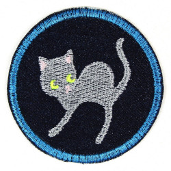 Flickli - the patch! round cat ø 7cm blue denim