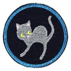 Applikation zum aufbügeln Aufnäher Katze auf Jeans blau für Erwachsene Accessoires und Bügelbild 7cm ø gestickt
