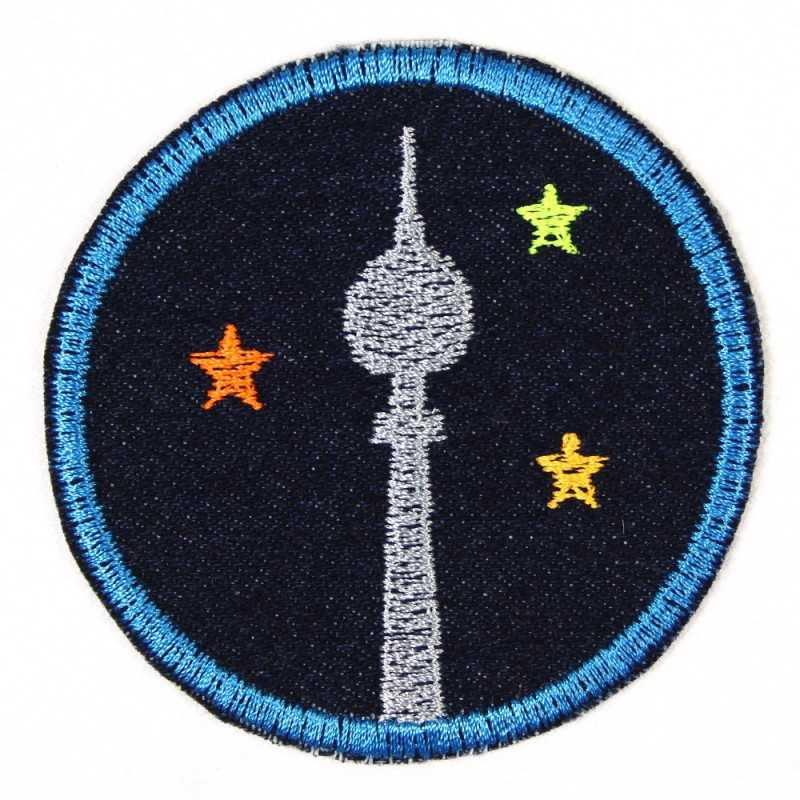 iron-on patches round tv tower Berlin Fernsehturm ø 7cm blue denim embroidered applique