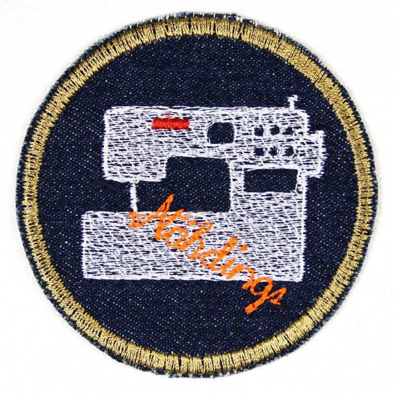 Flickli - the patch! round cat ø 7cm blue denim