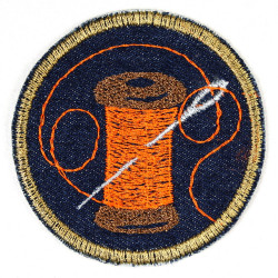 Applikation mit Nadel und Faden Bügelbild und Aufnäher zum aufbügeln Aufbügler aus Jeans gestickt rund 7cm