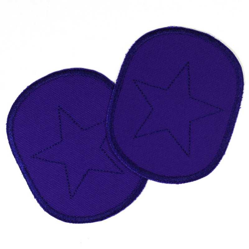 Patch set of retro stars on blue, tearproof canvas cotton fabric, and ideal as a knee patch