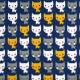 """Stoffe weiße Katzen und gelb, grau auf blau quilten oder patchworkstoff aus Baumwolle Robert Kaufman Suzy Uttman """"Suzy's Minis"""""""