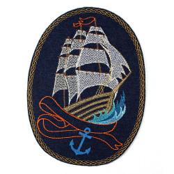 Bügelbild Segelschiff großer Schiff Aufbügler, große Applikation, Schiff Aufnäher zum aufbügeln, maritimes Accessoires