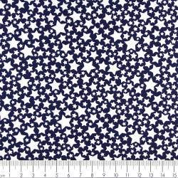 Stoffe Michael Miller weiße Sterne patchworkstoff auf blau zum quilten