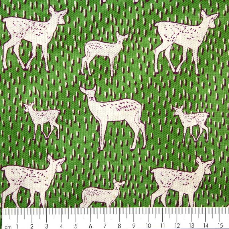 Patchwork cotton fabric linen Kokka Trèfle deer canvas quilting fabrics