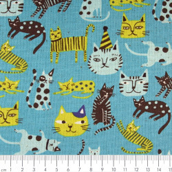 Patchwork circus cats cotton fabric linen Kokka Trèfle canvas quilting fabrics
