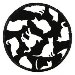 große runde Bügelflicken Katzen nachleuchten XL Knieflicken zum aufbügeln Hosenflicken als Aufbügler im Dunkeln leuchten
