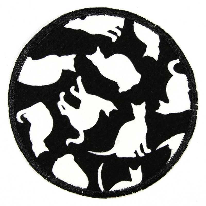 Patches round with glow in the dark cats, reinforced tear-resistant and ideal as a knee patch