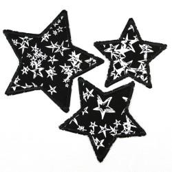 3 Bügelflicken Sterne Knieflicken zum aufbügeln Hosenflicken als Aufbügler Applikationen Flicken schwarz weiß