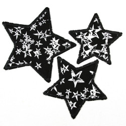 strong iron-on patches black stars 3er set whites starlettes 3 sizes appliques