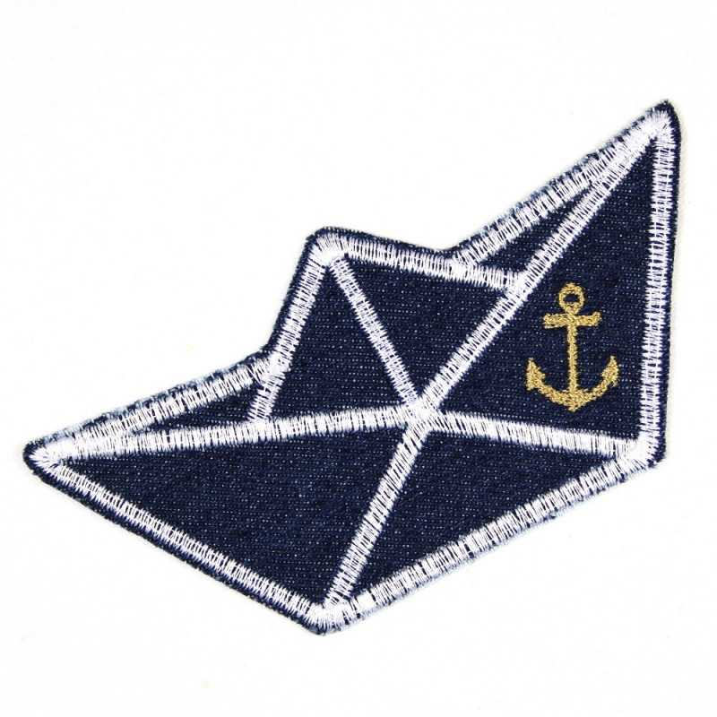 Paper boat application to iron on patch Boot Jeans dark blue for children and adults Accessories and iron-on image embroidered