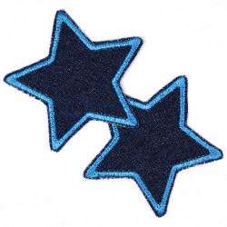 Flicken zum aufbügeln Set Sterne 2 Stück auf blue Jeans blau gefasst 7cm Aufbügler