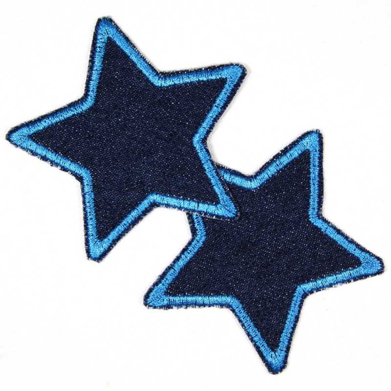 iron-on patches blue jeans stars 2er set blue trim embroidered strong applique