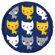 iron-on patches round cats on darkblue strong appliques e.g. for pants